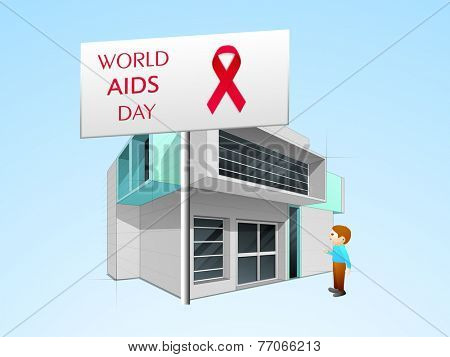 World Aids Day board with red ribbon of aids awareness and a man standing in front of a hospital.