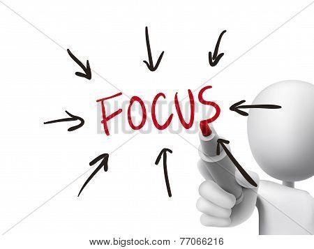 Focus Word Written By 3D Man