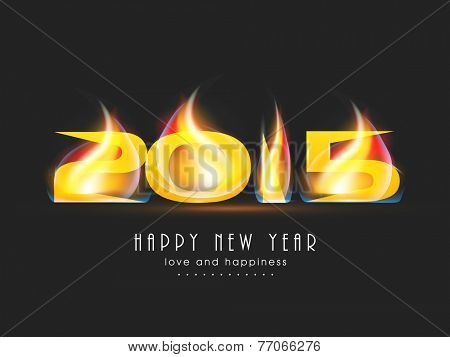 Stylish text 2015 with fire on black background, greeting card for Happy New Year celebrations.