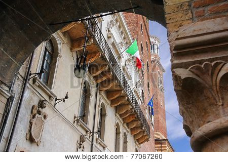 The Flags Of Italy And Europe In The Facade Of The Palazzo Del Capitano, Piazza Dante, Verona, Italy