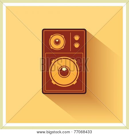 Retro Loudspeaker on vintage Yellow background, vector