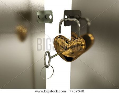 Heart-padlock With Key On The Gate