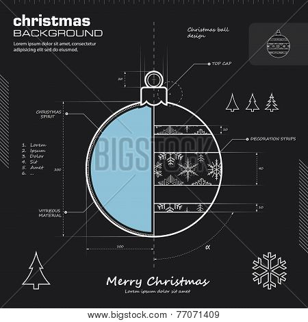 Christmas Ball Design Vector Background