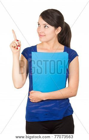 pretty young woman holding a blue folder