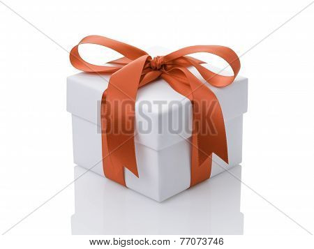 White Gift Box With Orange Ribbon Bow