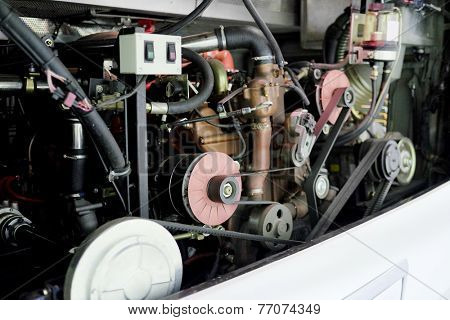 image of a bus engine