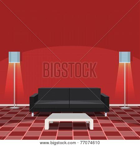 Modern Living Room - Red