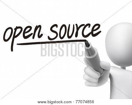 Open Source Words Written By 3D Man