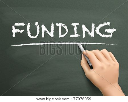 Funding Word Written By Hand