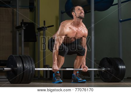 Bodybuilder Doing Deadlift For Back