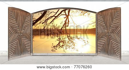 Carved Wooden Double Door With Lake View At Sunset