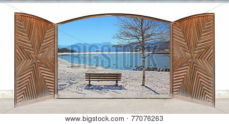 Carved Wooden Double Door With Lake View