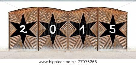 Wooden Double Door With Black Stars - New Years 2015