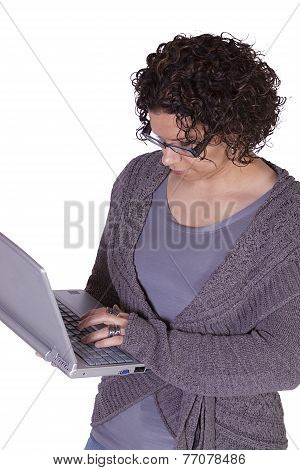 Hispanic Businesswoman Holding A Laptop