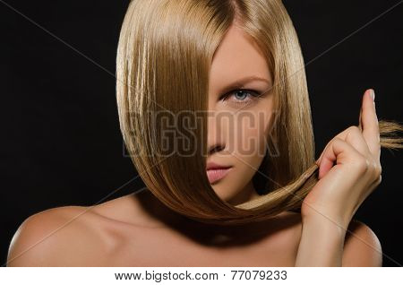 Young Woman With Beautiful Straight Hair