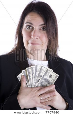 Woman Protecting Money