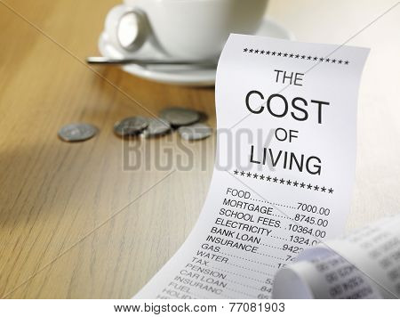 Cost of living shopping list showing the prices of running a home
