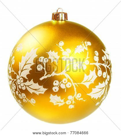 Yellow Dull Christmas Ball On White Background