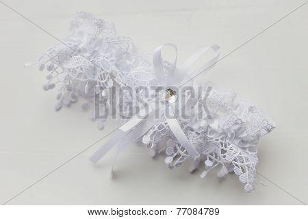Beautiful white bridal garter.