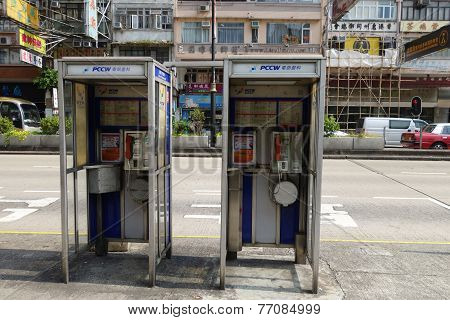 Two Phone Booths Locate In Mong Kok In Hong Kong