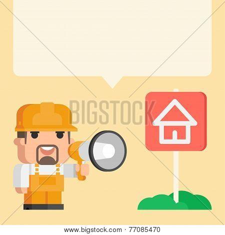Builder holding megaphone concept