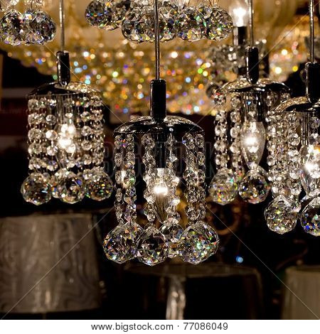 Chrystal Chandelier Close-up. Glamour Background With Copy Space