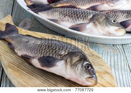 Carp Fish On A Wooden Board