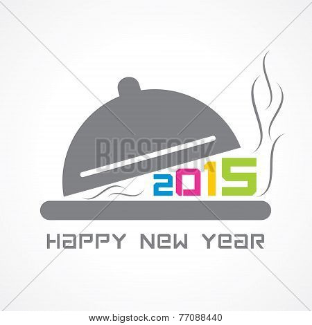 creative New Year 2015 design with restaurant  concept stock vector