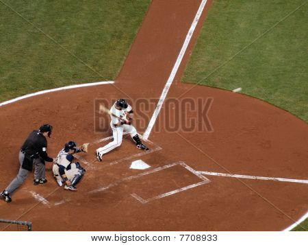 Giants Batter Takes A Swing At A Pitch