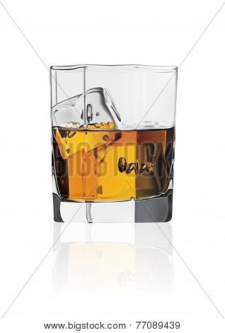 glass with Scottish scotch and ice