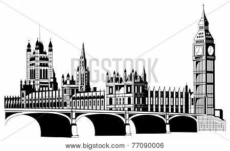 Contour London City In Vector