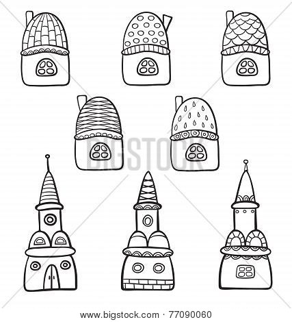 Set With Cartoon Line Drawing Houses.