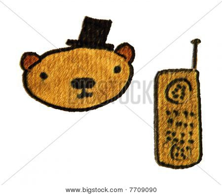 Bear With Hat And Telephone