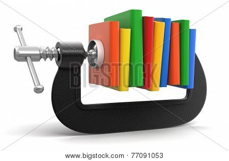 Books in clamp (clipping path included)