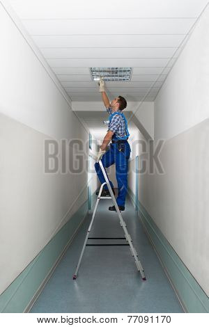 Electrician On Stepladder Installs Lighting To The Ceiling