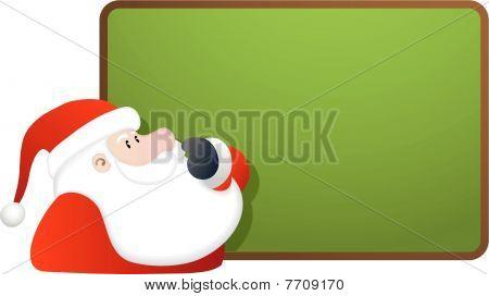 Santa and blank green board