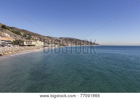 Pacific ocean shoreline seascape in Malibu, California.