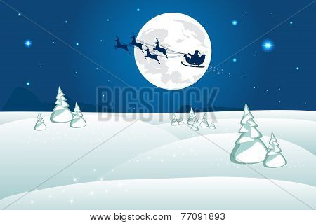 Winter landscape. Santa In Sky With Reindeer