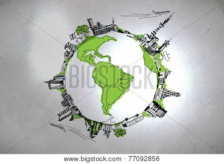 Background image of hand sketched Earth planet