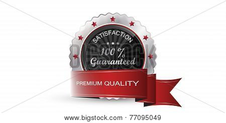 Silver guarantee badge, vector label, sign or emblem