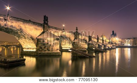 Charles bridge in Prague over Vltava river