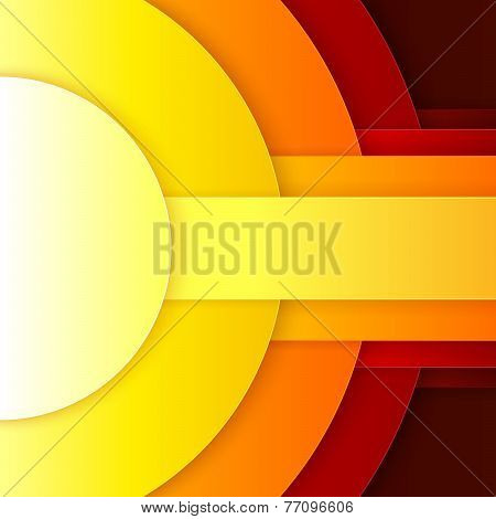 Abstract red, orange and yellow paper round shapes background