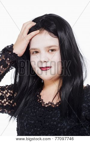 Little Girl With Wig And Scary Makeup