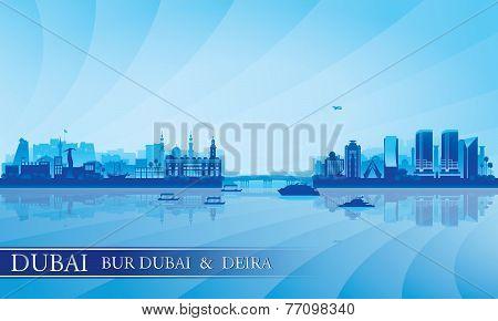 Dubai Deira And Bur Dubai Skyline Silhouette Background