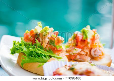 Bruschetta Topped With Tomato
