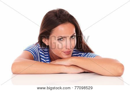 Pretty Lady In Blue T-shirt Looking At Camera