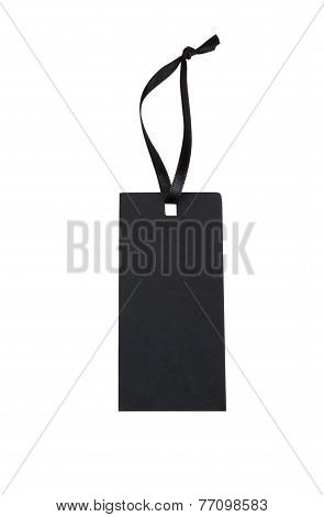 Black Paper Tag With A Ribbon