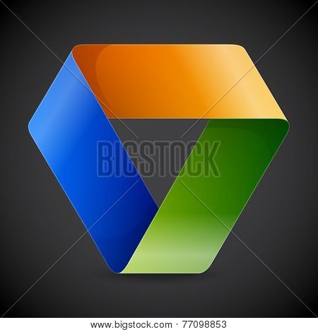 Moebius origami colorful paper triangle on grey background