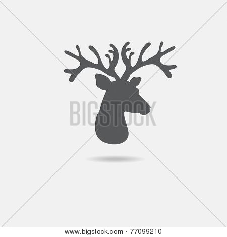 Deer head icon on grey background. Vector deer symbol