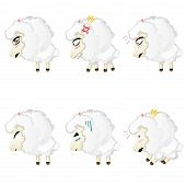 foto of chibi  - Set of cute sheep chibi style in different expressions - JPG